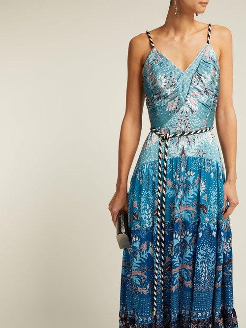 Floral Print Hammered Silk Blend Dress by Peter Pilotto