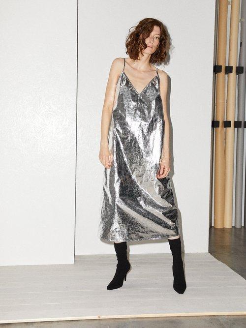V Neck Foil Midi Slip Dress by Raey