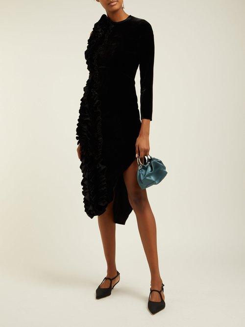 Ruffled Asymmetric Velvet Midi Dress by A.W.A.K.E. Mode