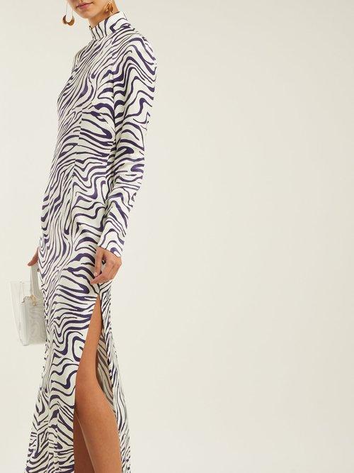 Okavango Satin Tiger Print Dress by Bella Freud
