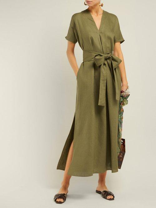 Photo of Rosetta V Neck Linen Midi Dress by Lisa Marie Fernandez - shop Lisa Marie Fernandez dresses online sales