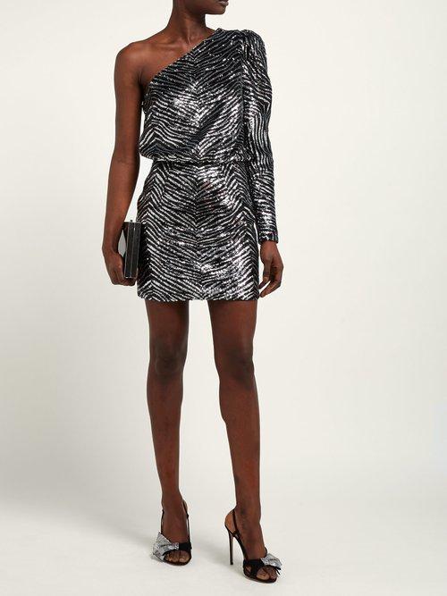 One Shoulder Zebra Sequinned Mini Dress by Alexandre Vauthier