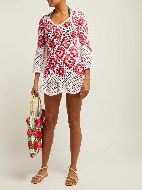 Bisou V Neck Crocheted Knit Cotton Midi Dress by My Beachy Side