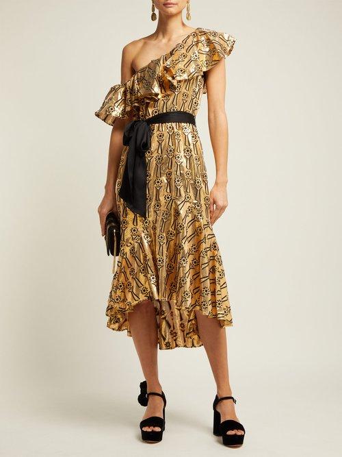 Eliska Ruffled One Shoulder Dress by Temperley London