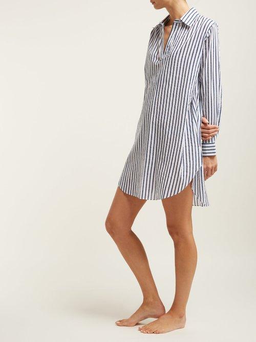 Striped Cotton Boyfriend Nightshirt by Pour Les Femmes