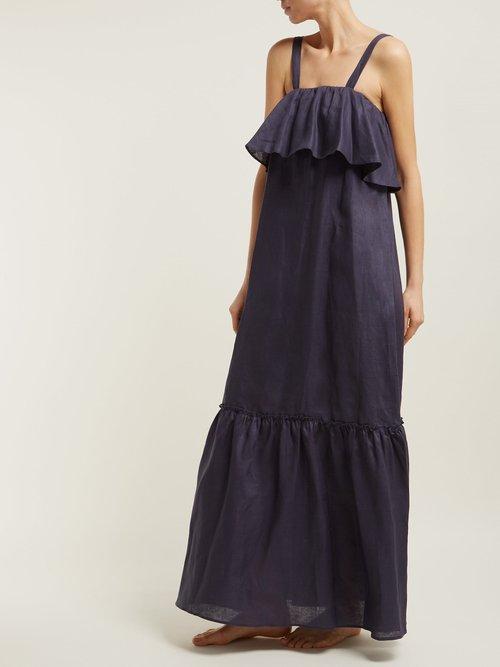 Ruffled Linen Maxi Dress by Pour Les Femmes