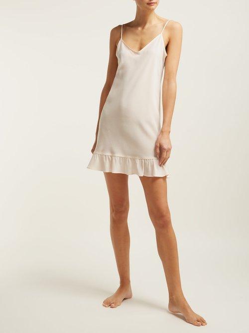 Ruffled Hem Silk Slip Dress by Pour Les Femmes