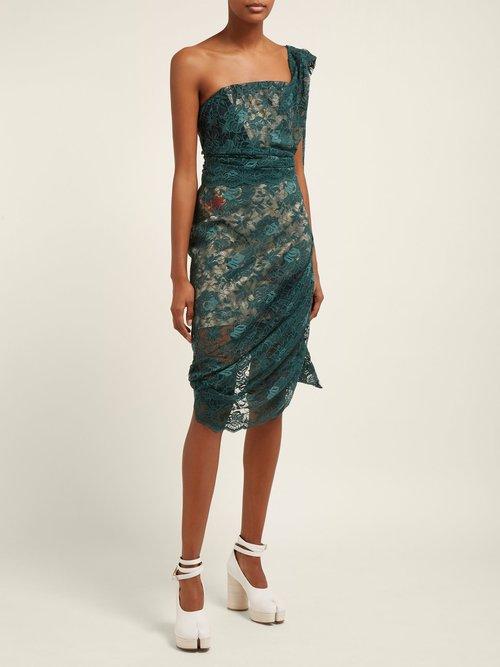 Asymmetric Floral Lace Bustier Midi Dress by Vivienne Westwood