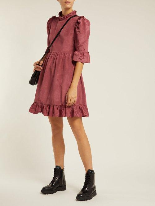 Prairie Ruffle Trimmed Moire Faille Dress by Batsheva