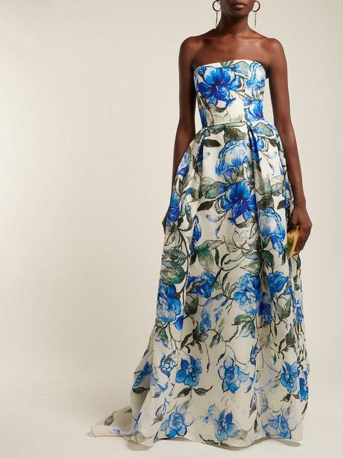 Floral Print Strapless Silk Gown by Carolina Herrera