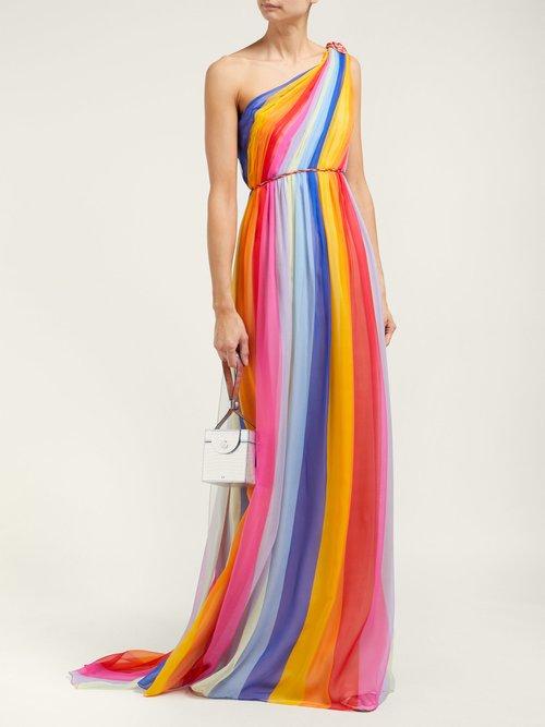 Asymmetric Striped Silk Chiffon Gown by Carolina Herrera