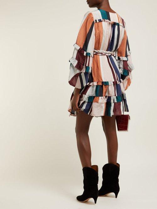 Zarza Striped Linen Blend Wrap Dress by Apiece Apart