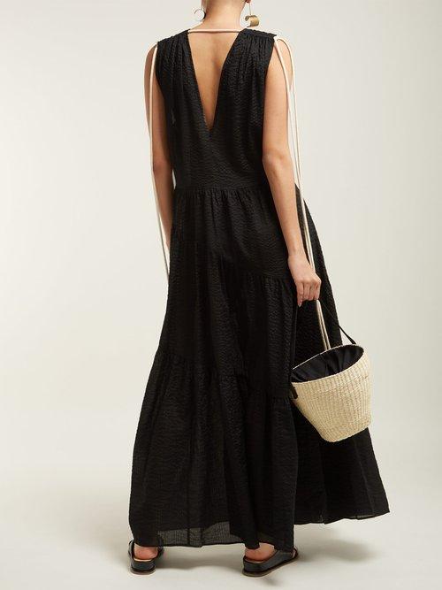 Lilian V Neck Cotton Midi Dress by Lee Mathews