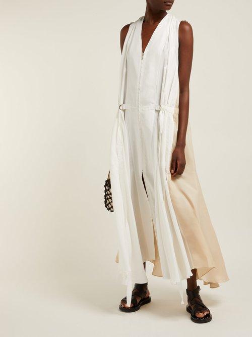 Judd Zipped Silk Satin Midi Dress by Lee Mathews