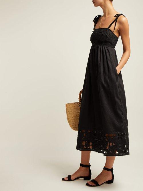 Juno Guipure Lace Linen Midi Dress by Zimmermann