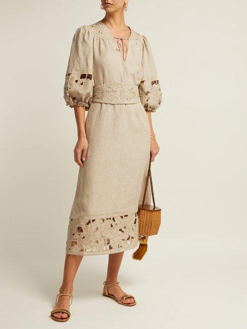 Juno Belted Guipure Lace Linen Dress by Zimmermann