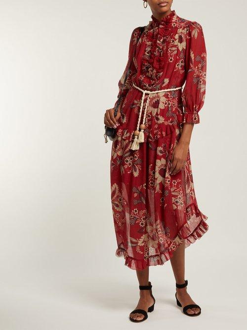 Juno Floral Print Cotton Blend Chiffon Midi Dress by Zimmermann