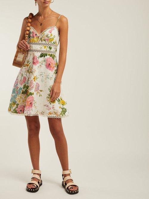 Heathers Floral Print Linen Mini Dress by Zimmermann