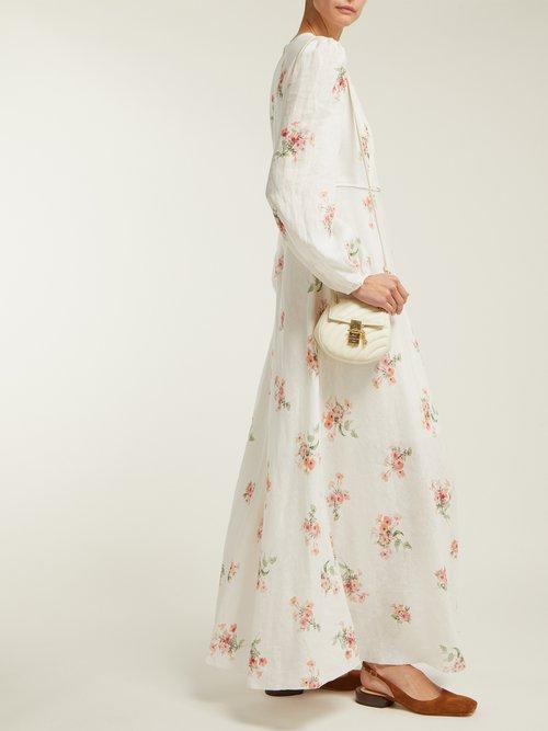 Heathers Floral Print Linen Long Dress by Zimmermann