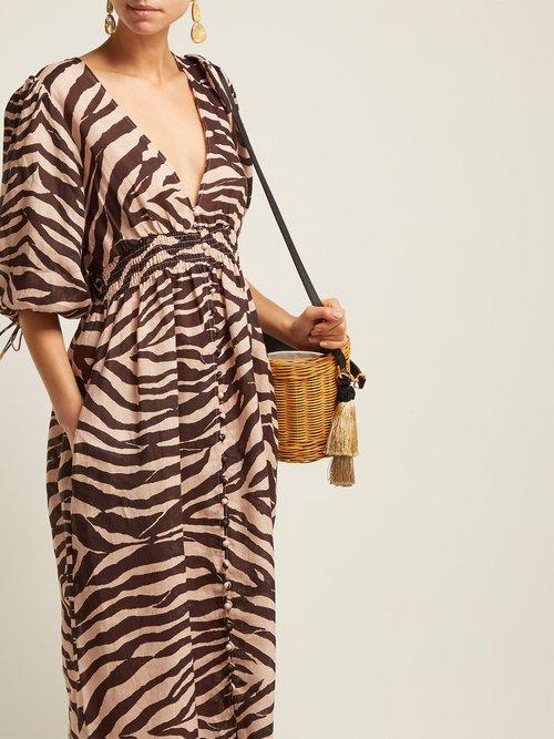 Zebra Print Linen Midi Dress by Zimmermann