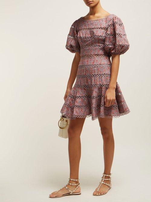 Juniper Contoured Ring Floral Print Linen Dress by Zimmermann