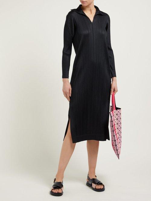 Long Sleeve Tech Pleated Dress by Pleats Please Issey Miyake