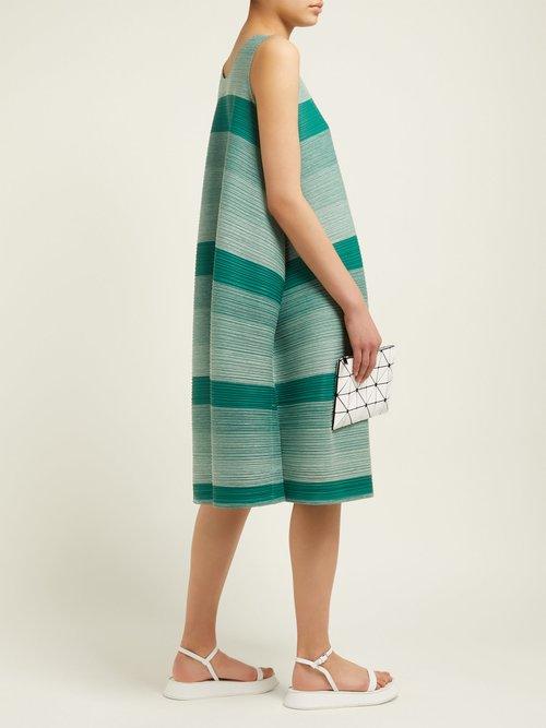 Log Faded Stripe Pleated Dress by Pleats Please Issey Miyake