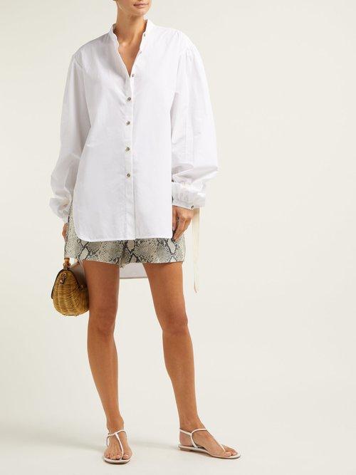 Lee Mandarin Collar Oversized Shirt by White Story