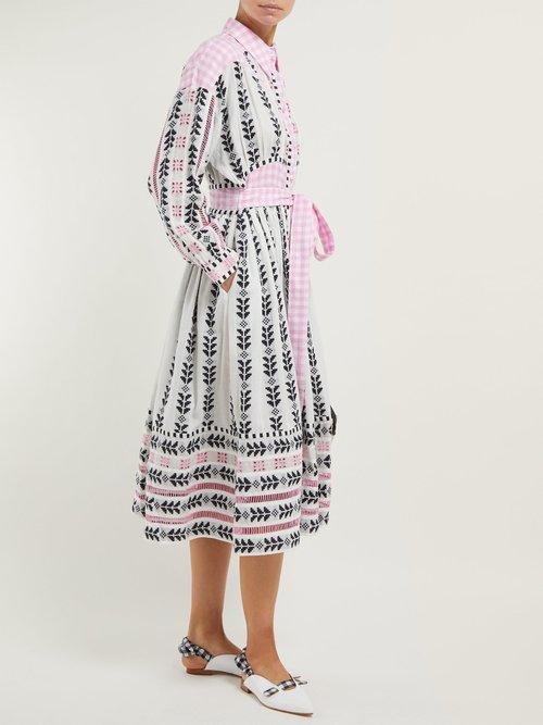 Constanza Geometric Embroidered Cotton Midi Dress by Dodo Bar Or