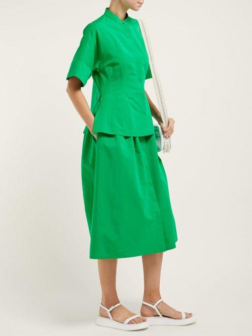 Peplum Hem Cotton Blend Dress by Jil Sander