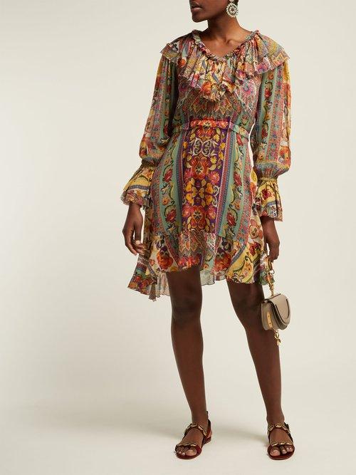 Wonder Fruit Floral Print Silk Dress by Etro