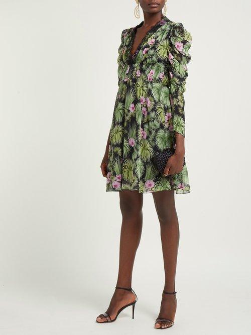 Floral Print Silk Georgette Mini Dress by Giambattista Valli