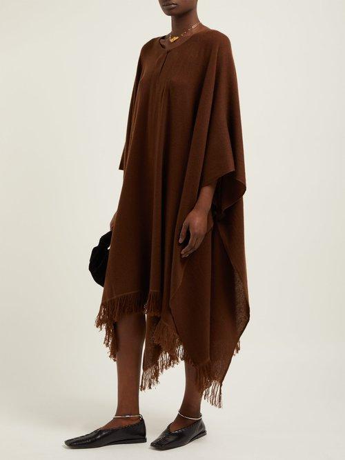Draped Cashmere Poncho Midi Dress by Ryan Roche