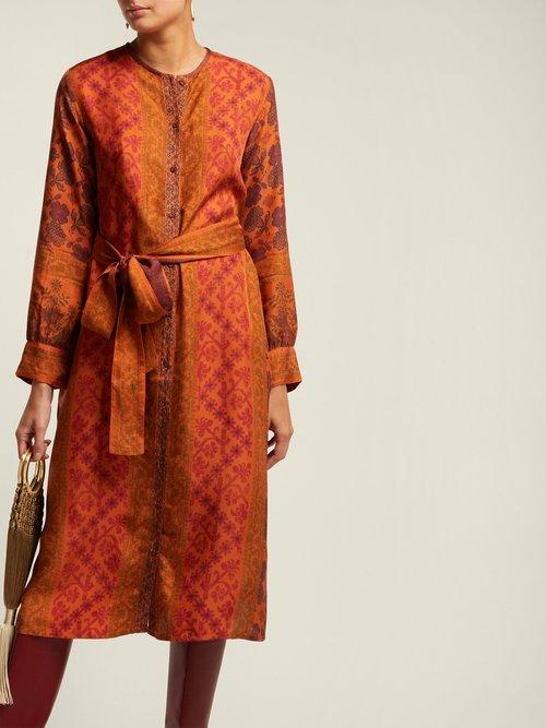 Prato Floral Print Silk Midi Dress by D'Ascoli