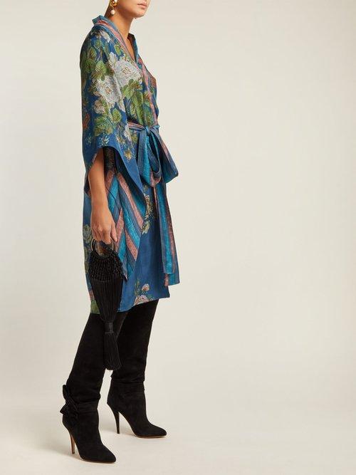 Gilded Age Floral Print Silk Midi Dress by D'Ascoli