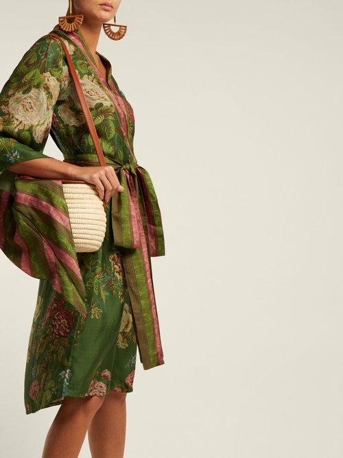 Floral Print Wrap Silk Mid Dress by D'Ascoli