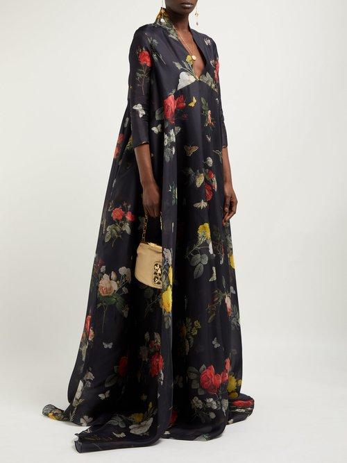 Genesis Floral And Fauna Print Silk Organza Gown by Biyan
