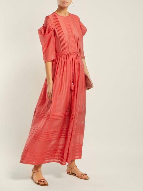 Pintuck Gathered Sleeve Tie Waist Dress by Anna October