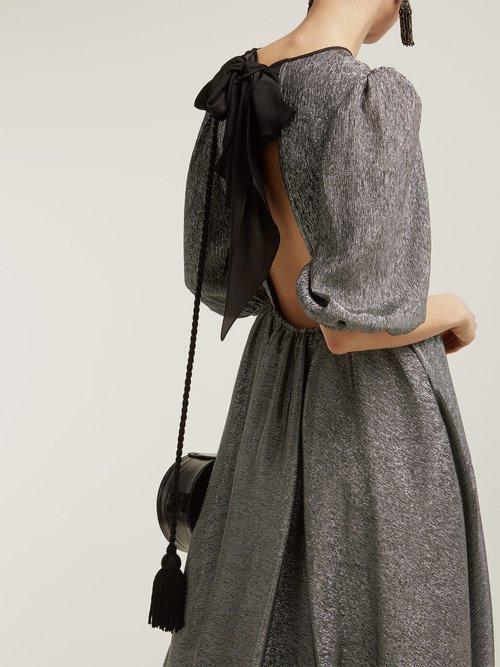 Open Back Metallic Silk Blend Dress by Anna October