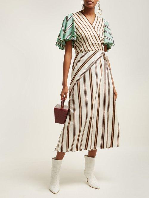 Multi Stripe Wrap Dress by Anna October