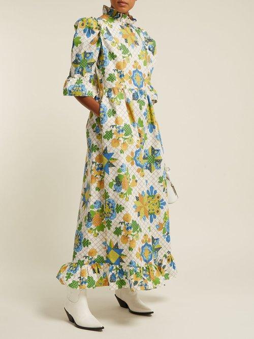Patchwork Print One Of A Kind Cotton Midi Dress by Batsheva