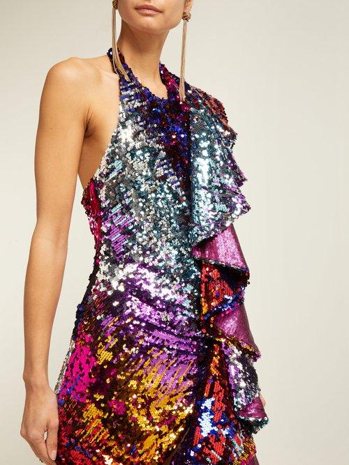 Ruffle Trim Sequinned Mini Dress by Halpern