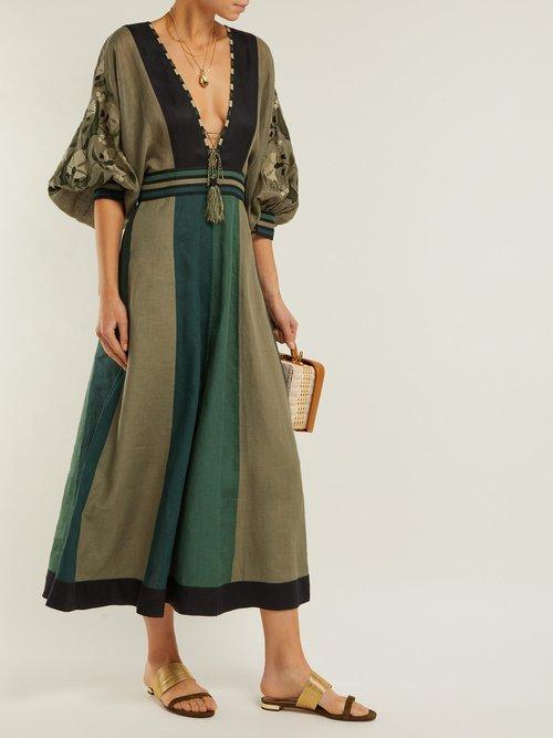 Celia Panelled Linen Midi Dress by Vita Kin