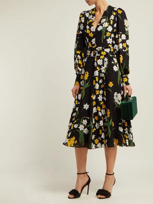Daffodil Print Silk Midi Dress by Andrew Gn
