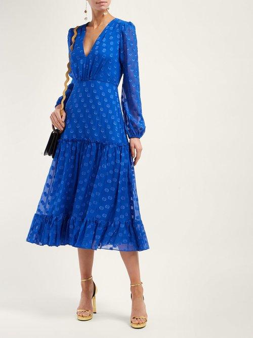 Devon Polka Dot Silk Georgette Dress by Saloni