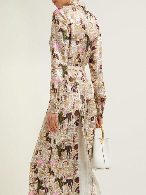 Jane Equestrian Print Silk Twill Shirtdress by Gabriela Hearst