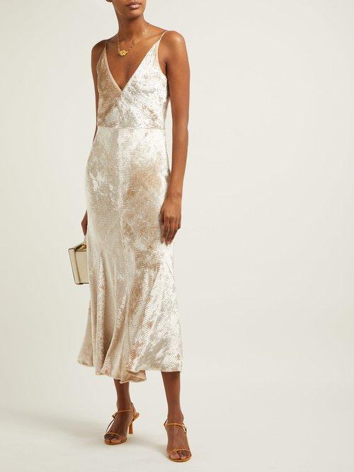 Bridget Herringbone Velvet Slip Dress by Gabriela Hearst