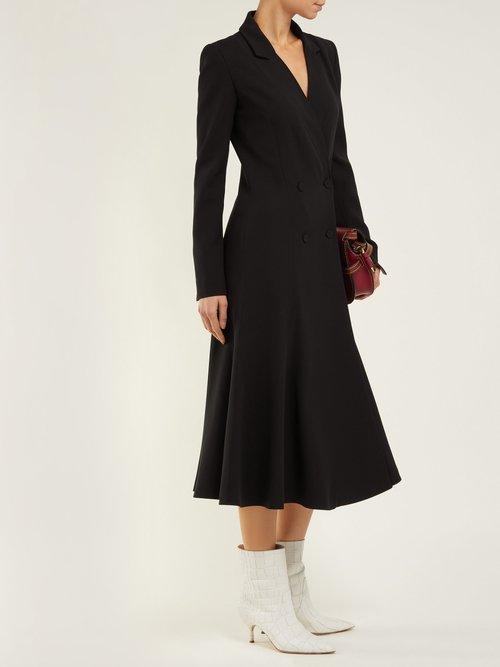 Walker Double Breasted Silk Crepe Midi Dress by Gabriela Hearst