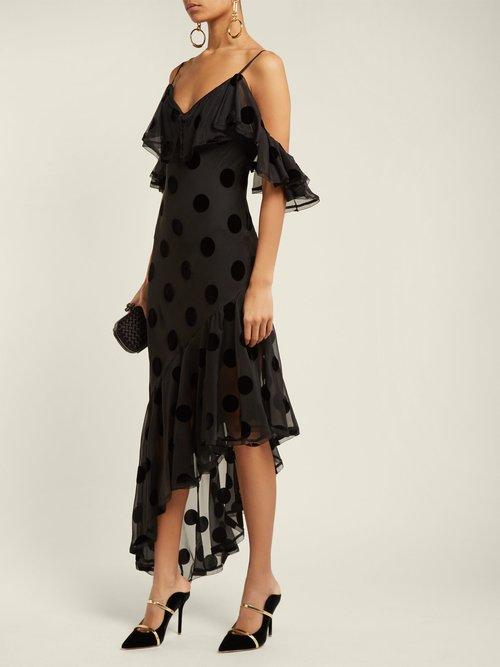 Raine Polka Dot Asymmetric Dress by Maria Lucia Hohan