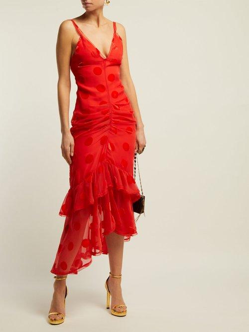 Skylar Ruffled Polka Dot Tulle Mid Dress by Maria Lucia Hohan